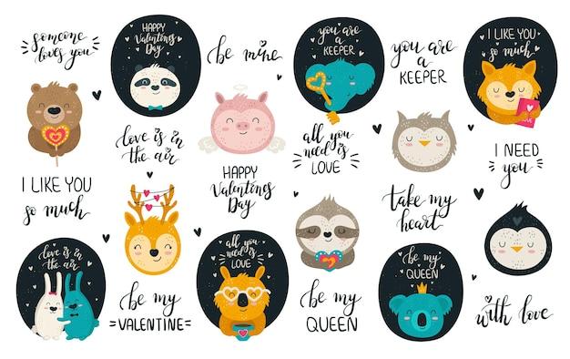 Vector collectie van hand tekenen van schattige dieren en mooie slogans. set doodle illustraties. valentijnsdag, jubileum, babyshower, verjaardag, kinderfeestje
