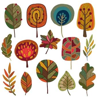 Vector collectie van herfst natuurelementen, geïsoleerd op een witte achtergrond. kleurrijke herfstset met prachtige heldere bladeren en bomen.