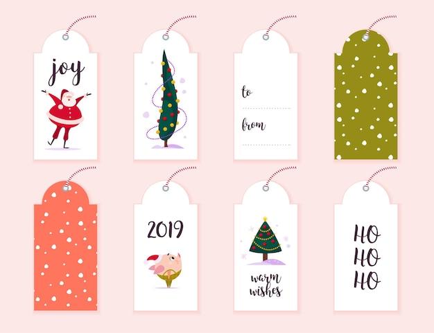 Vector collectie van kerstcadeau tags en badges geïsoleerd op lichte achtergrond. emblemen voor kerstvakantie presenteert verpakking. patroon, tekstplaats, gefeliciteerd, nieuwjaarskarakterontwerp.