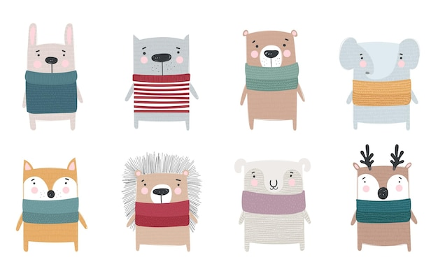 Vector collectie van lijntekening schattige winter dieren in gezellige kleding doodle illustratie