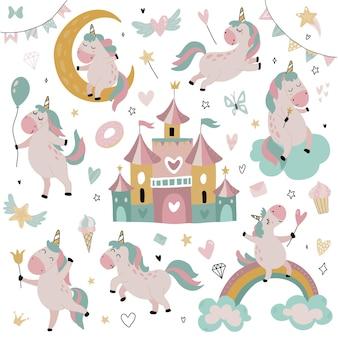 Vector collectie van schattige kleine eenhoorns regenboog sterren sprookjeskasteel