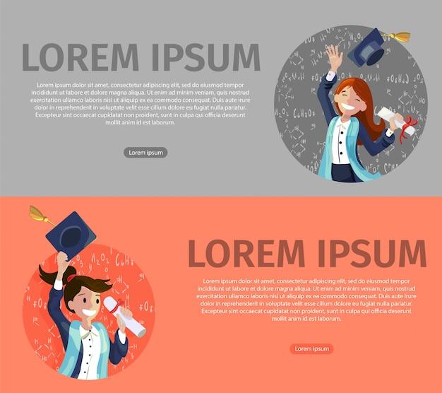 Vector concept illustratie cartoon gelukkige studenten