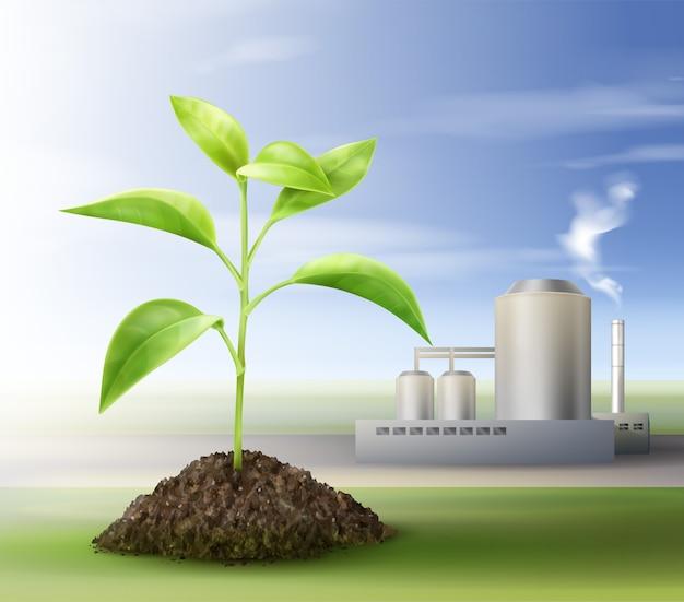 Vector concept van het verwerken van natuurlijke hulpbronnen voor biobrandstof