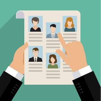 Vector concept van het zoeken naar professionele spullen, headhunter baan, werkgelegenheidskwestie, human resources management of het analyseren van personeel hervatten. plat ontwerp