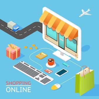 Vector concept van online winkel in 3d-plat ontwerp