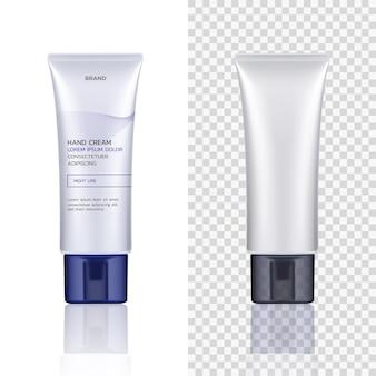 Vector container, buis voor cosmetische producten geïsoleerd op een witte en transparante achtergrond. lege mock-up. ontwerp van de verpakking van de huidverzorging. voor reclame, flyer, banner, poster. realistische 3d-afbeelding.