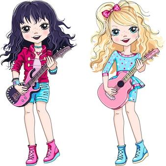 Vector coole rocksterren brunette en blonde baby meisjes muzikant gitaar spelen.