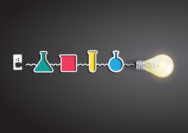 Vector creatief gloeilampenidee met chemie en wetenschapselementen