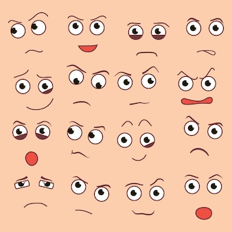 Vector creatieve cartoon stijl glimlacht met verschillende emoties. eps10 Gratis Vector