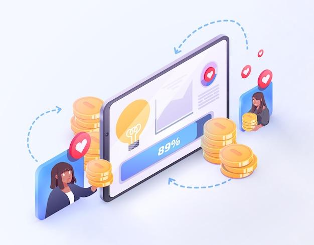 Vector crowdfunding technologie concept nieuw bedrijfsmodel goed project idee financiering door crowd