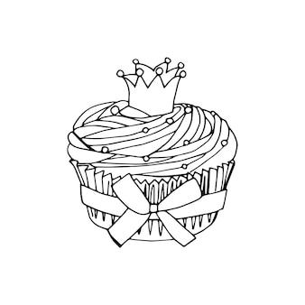 Vector cupcake-illustratie. doodle taarten met room en bessen.