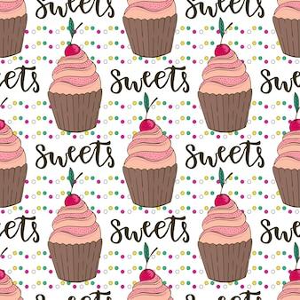 Vector cupcakes naadloos patroon. doodle achtergrond met snoep taarten. verjaardag decoratie