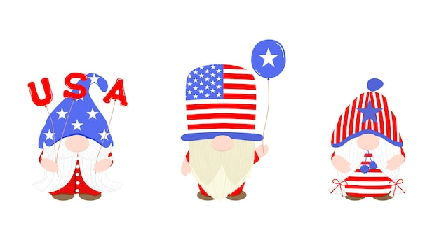 Vector cute gnome dragen amerikaans kostuum concept met ballon usa ontwerp clip art bundel