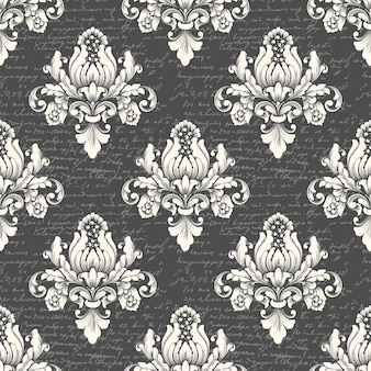 Vector damast naadloze patroon achtergrond met oude tekst. klassiek luxe ouderwetse damast ornament, koninklijke victoriaanse naadloze textuur voor behang, textiel. exquise bloemen barokke sjabloon