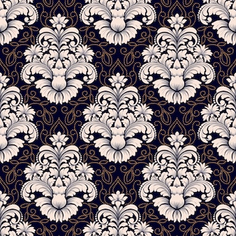 Vector damast naadloze patroon. klassiek luxe ouderwetse damast ornament, koninklijke victoriaanse naadloze textuur voor achtergronden, textiel, onmiddellijke verpakking. exquise bloemen barokke sjabloon.