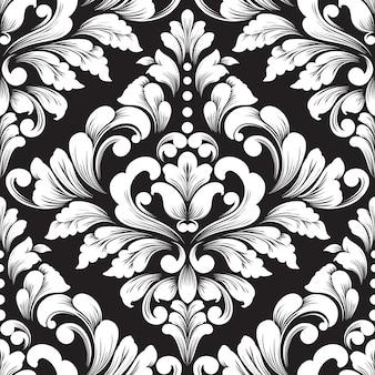 Vector damast naadloze patroonelement. klassieke luxe ouderwetse damast ornament, koninklijke victoriaanse naadloze textuur voor achtergronden, textiel, onmiddellijke verpakking. exquise bloemen barokke sjabloon.