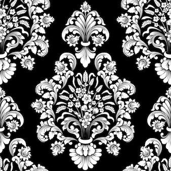 Vector damast naadloze patroonelement. klassieke luxe ouderwetse damast ornament, koninklijke victoriaanse naadloze textuur voor achtergronden, textiel, onmiddellijke verpakking.