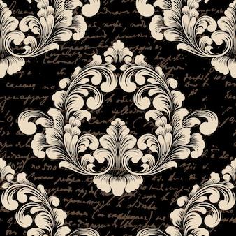Vector damast naadloze patroonelement met oude tekst.