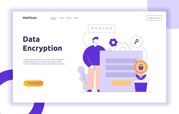 Vector data-encryptie webpagina online sjabloon voor spandoek