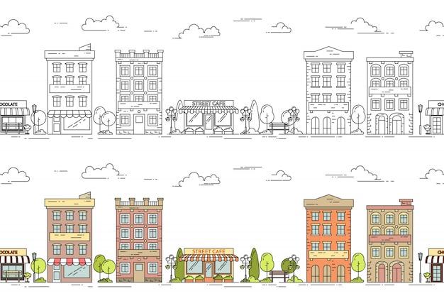 Vector de illustratie naadloos die patroon van de stadslijn met uitstekende flat met meerdere verdiepingen wordt geplaatst huis