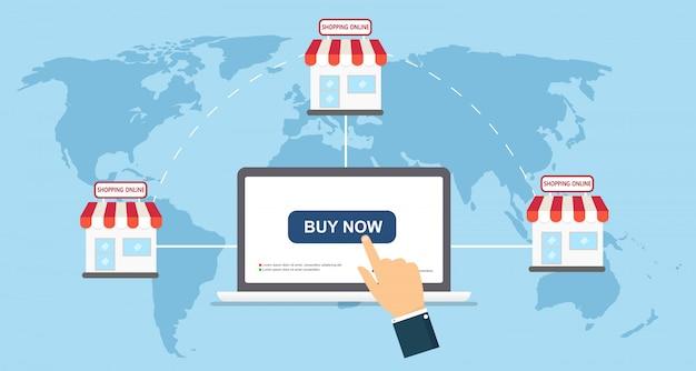 Vector de illustratieconcept van het elektronische handel vlak pictogram