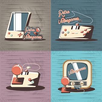 Vector de illustratieontwerp van videogame retro vastgesteld pictogrammen
