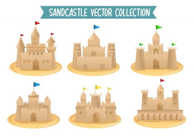 Vector de inzamelings vastgestelde tekening van de zandkasteel vector