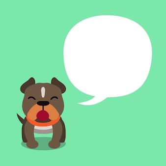 Vector de kuil bull terrier hond van het beeldverhaalkarakter met witte toespraakbel
