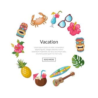 Vector de reiselementen van de beeldverhaalzomer in cirkelvorm met plaats voor tekstillustratie