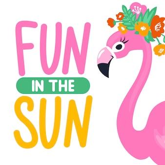 Vector de zomerkaart met grappige roze flamingo. trendy illustratie