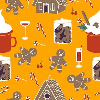 Vector decorontwerp iconen voor kerstgroeten naadloze patronen. wintervakantie ontwerpelementen. traditionele kerstattributen. Premium Vector