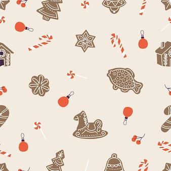 Vector decorontwerp iconen voor kerstgroeten naadloze patronen. wintervakantie ontwerpelementen. traditionele kerstattributen
