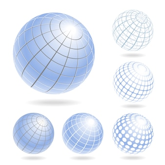 Vector designelementen van lichtblauwe bollen