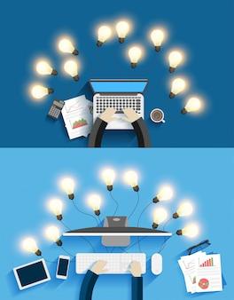 Vector die aan computer met creatieve gloeilampenideeën werken