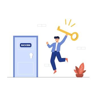 Vector die van zakenman een sleutel houdt om de deur te openen