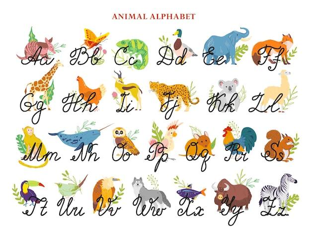 Vector dier alfabet met hand getrokken brieven lettertype geïsoleerd hand getrokken vlakke stijl