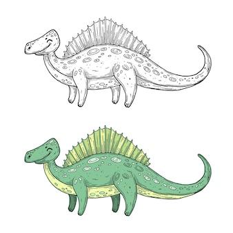 Vector dino's handgemaakte inktlijnafbeeldingen