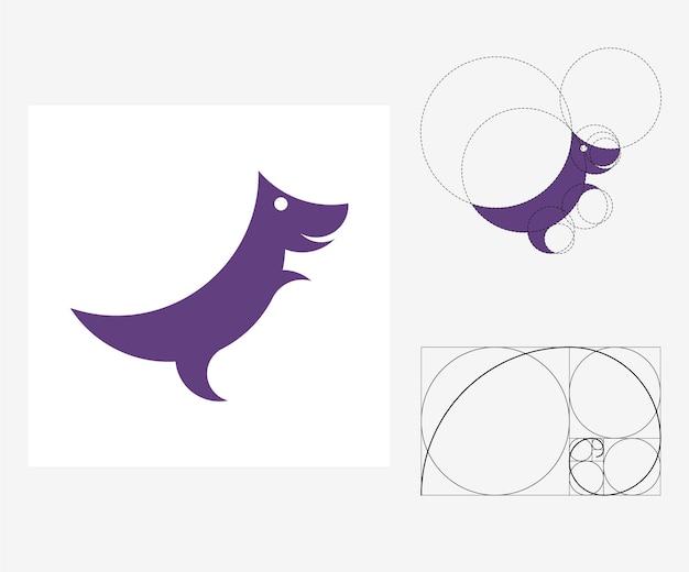 Vector dinosaurus in gulden snede stijl. bewerkbare illustratie