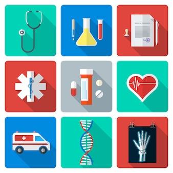 Vector diverse medische pictogrammen van de kleuren vlakke stijl met schaduw