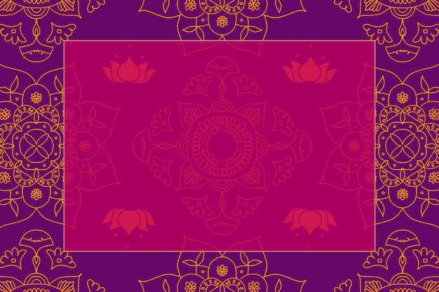 Vector diwali festival rangoli indiase frame