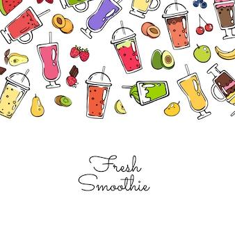 Vector doodle gekleurde smoothie drankje