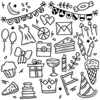Vector doodle set partij iconen
