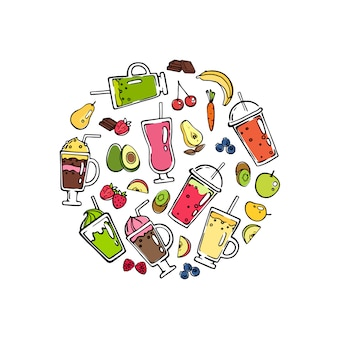 Vector doodle smoothie in cirkel vorm illustratie