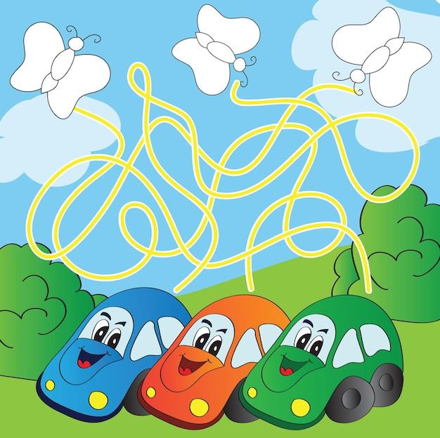 Vector doolhofspel met grappige auto's - vind de weg en schilder een vlinder in de juiste kleur
