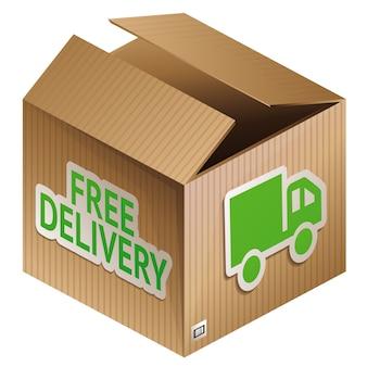 Vector doos met gratis verzending - internet winkelen