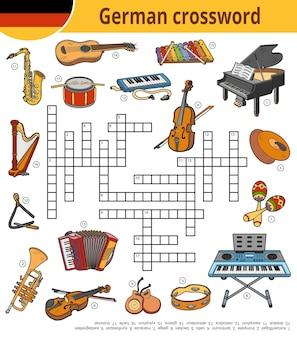 Vector duits kruiswoordraadsel, onderwijsspel voor kinderen over muziekinstrumenten