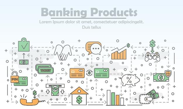 Vector dunne lijn bankproducten illustratie