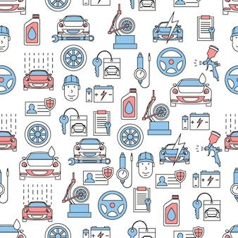 Vector dunne lijn kunst auto service naadloze patroon