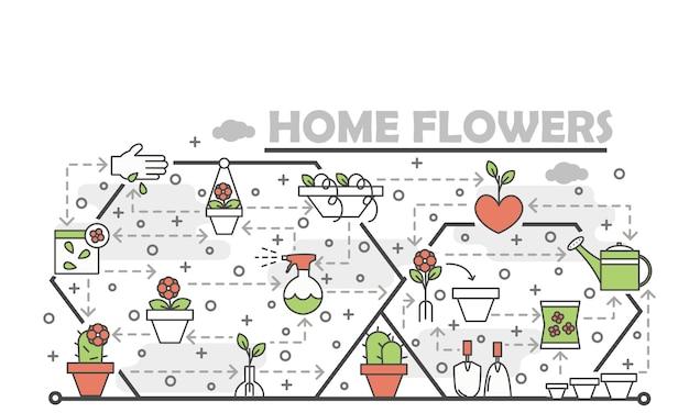 Vector dunne lijn kunst huis bloemen illustratie