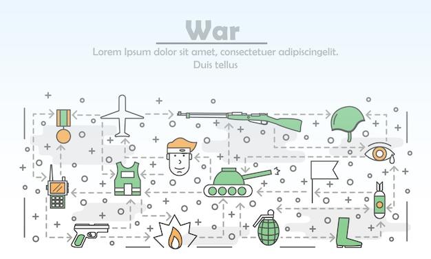 Vector dunne lijn kunst oorlog illustratie
